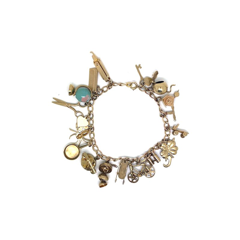 Estate & Vintage Lady's vintage; yellow gold charm bracelet