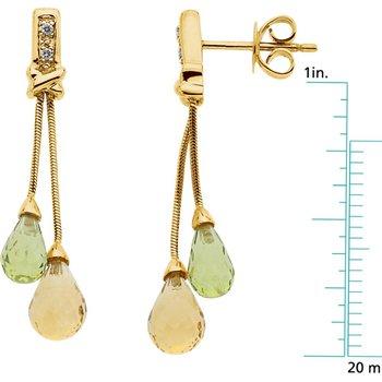 Genuine Citrine, Peridot & Diamond Earrings