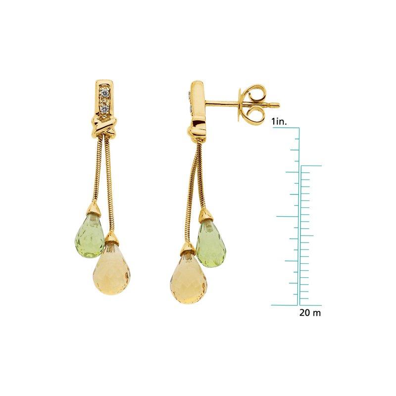 Ladies' Jewelry Genuine Citrine, Peridot & Diamond Earrings