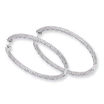 14k White Gold Diamond In-Out Hinged Hoop Earrings