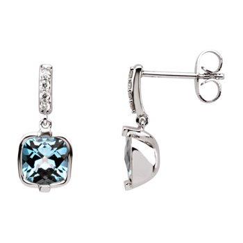 Genuine Checkerboard Swiss Blue Topaz & Diamond Earrings