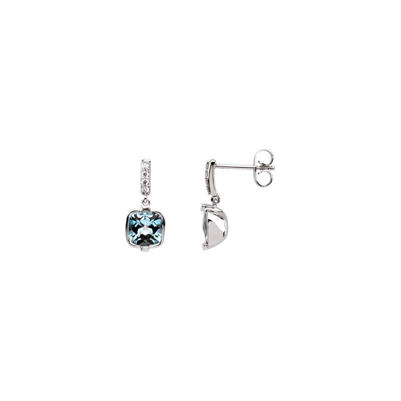 Holiday Ideas Genuine Checkerboard Swiss Blue Topaz & Diamond Earrings
