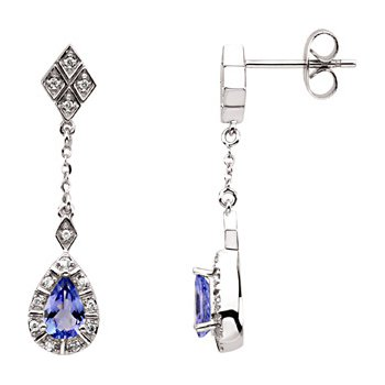 Genuine Tanzanite & Diamond Earrings