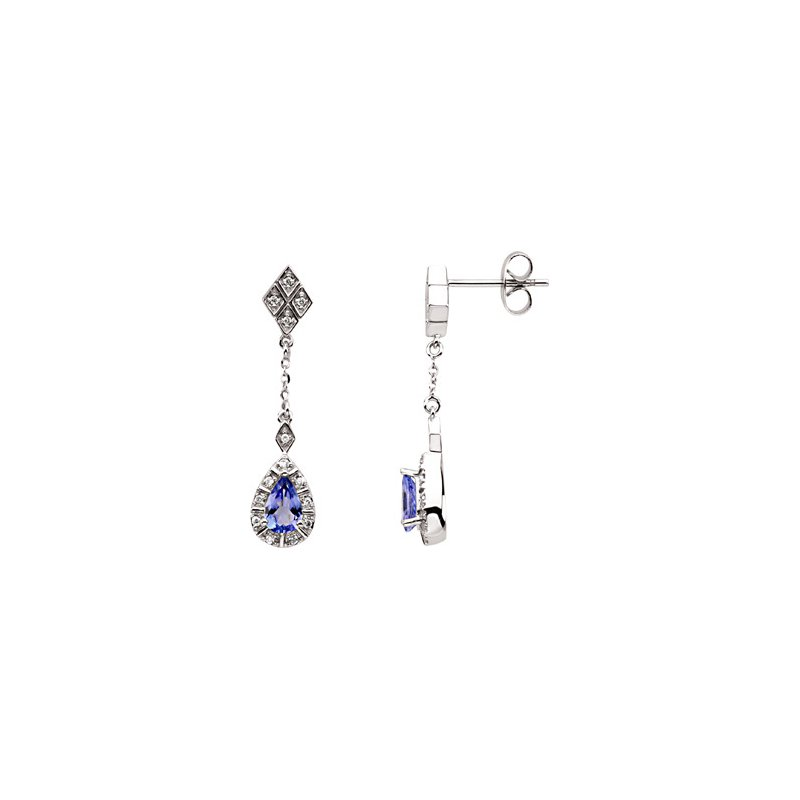 Ladies' Jewelry Genuine Tanzanite & Diamond Earrings