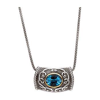 Genuine Swiss Blue Topaz Necklace