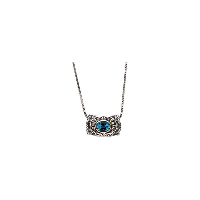 Ladies' Jewelry Genuine Swiss Blue Topaz Necklace