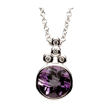 Genuine Checkerboard Amethyst & Diamond Necklace