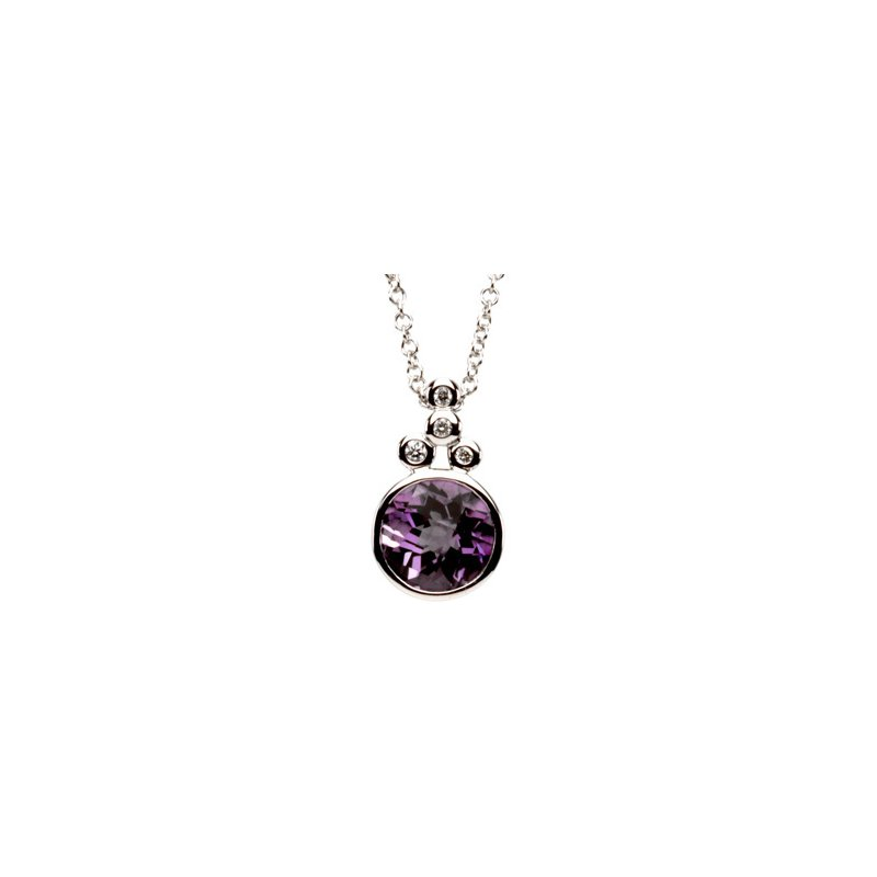 Ladies' Jewelry Genuine Checkerboard Amethyst & Diamond Necklace
