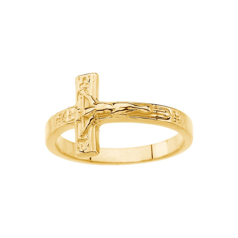 Religious Jewelry Crucifix Chastity Ring with Box - Sizes 4-8