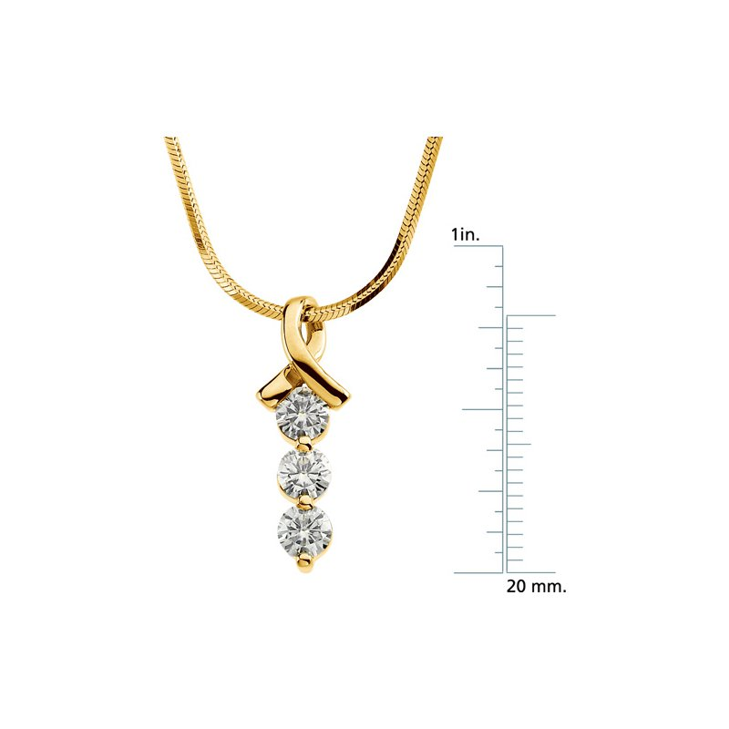 Ladies' Jewelry Moissanite 3-Stone Necklace On Chain
