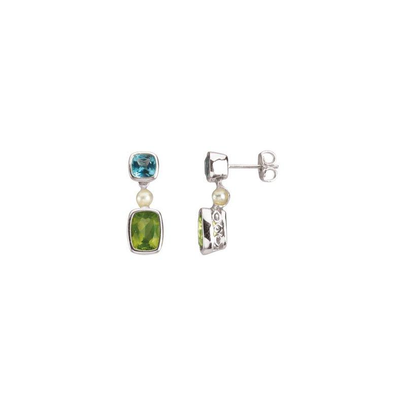 Holiday Ideas Freshwater Cultured Pearl, Genuine Swiss Blue Topaz & Peridot Earrings