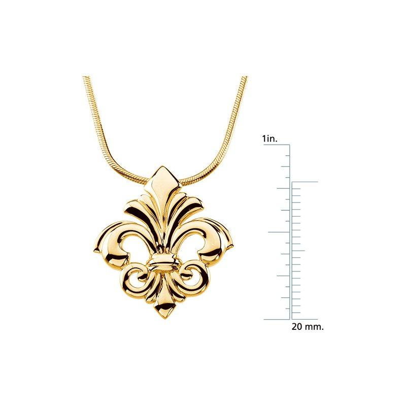 Ladies' Jewelry Fleur de Lis Pendant on a Snake Chain