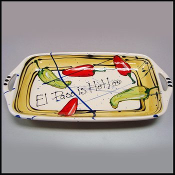 "Heart Beat of El Paso ""El Paso is Hot!"" Small Handled Tray"