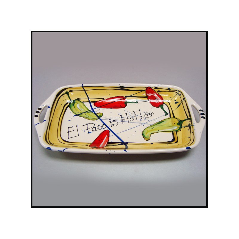 """El Paso Star and Gifts Heart Beat of El Paso """"El Paso is Hot!"""" Small Handled Tray"""
