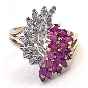 Lady's vintage ruby, diamond and yellow gold ring