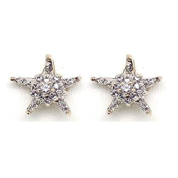 Lady's vintage diamond and two-tone gold star stud earrings