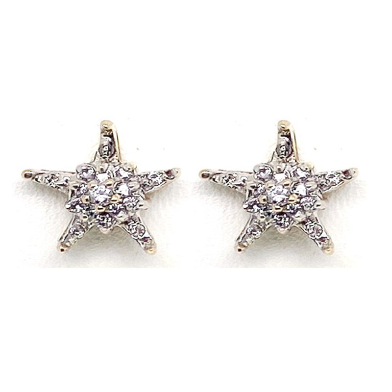 Estate & Vintage Lady's vintage diamond and two-tone gold star stud earrings