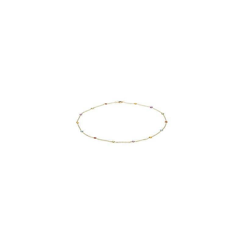 Ladies' Jewelry Genuine Checkerboard Multi Gem-stone Necklace