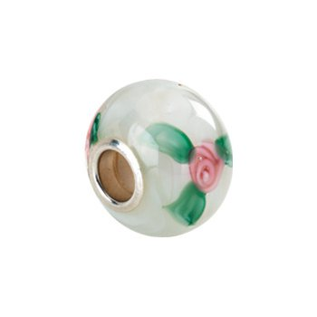 Kera White Murano Glass Roses Bead