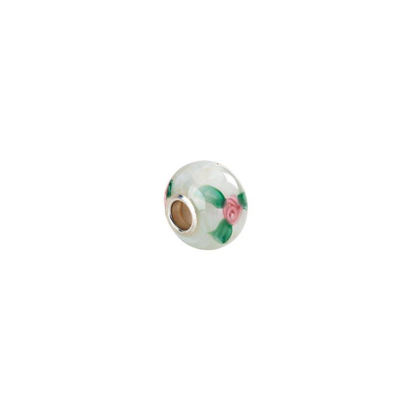 Holiday Ideas Kera White Murano Glass Roses Bead