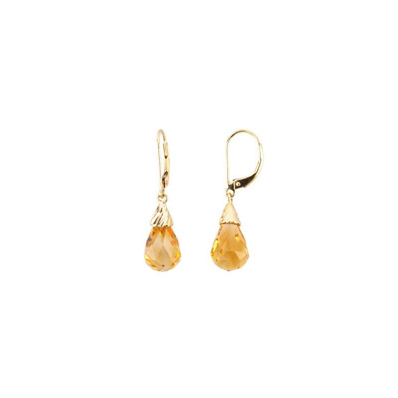Ladies' Jewelry Genuine Checkerboard Citrine Briolette Earrings