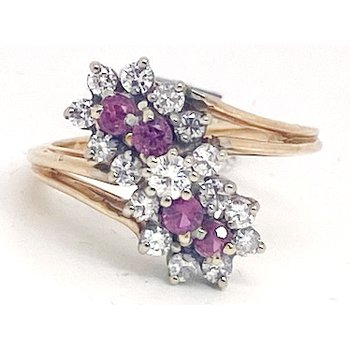 Lady's vintage ruby, diamond and yellow gold flower ring