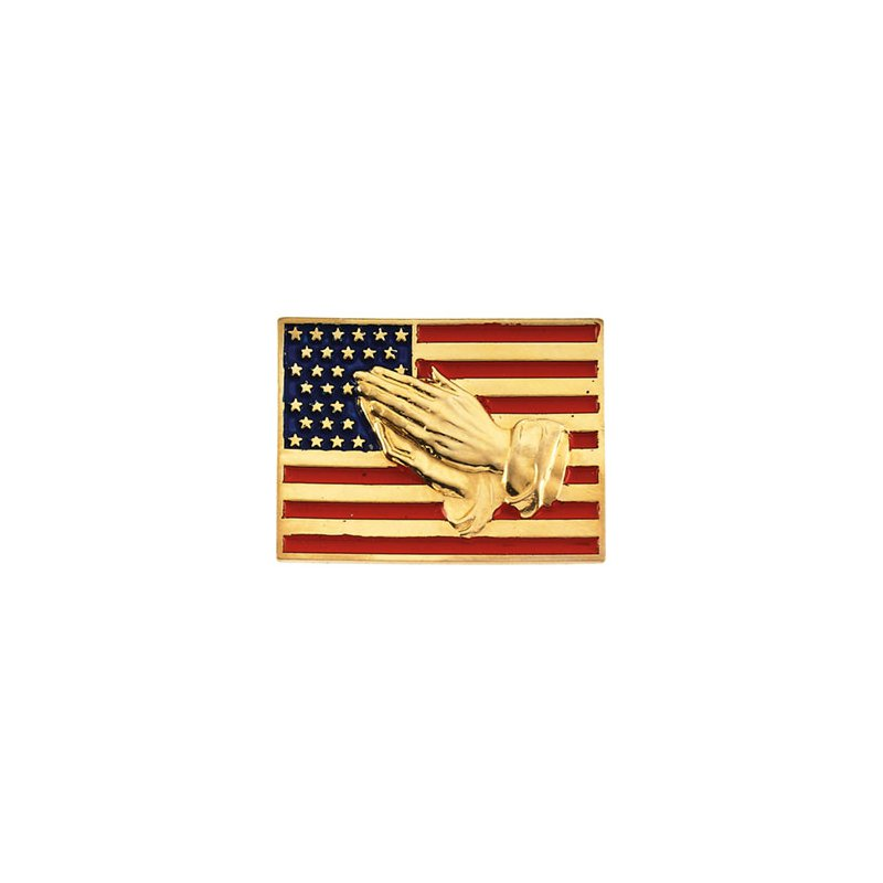 Religious Jewelry Flag with Praying Hands Lapel pin