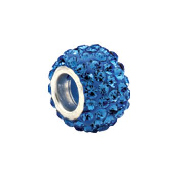 Kera Roundel Bead with Pave' Light Sapphire Crystals