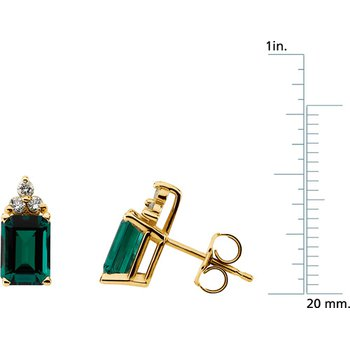 Chatham Created Emerald & Diamond Earrings