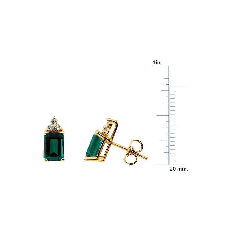 Ladies' Jewelry Chatham Created Emerald & Diamond Earrings