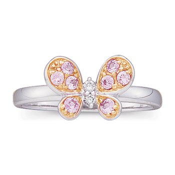 Genuine Pink Sapphire & Diamond Butterfly Ring