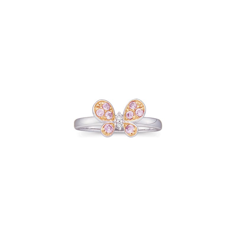 Ladies' Jewelry Genuine Pink Sapphire & Diamond Butterfly Ring