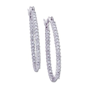 1/2 ct tw Diamond Inside-Outside Hoop Earrings