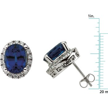 Chatham Created Sapphire & Diamond Earrings