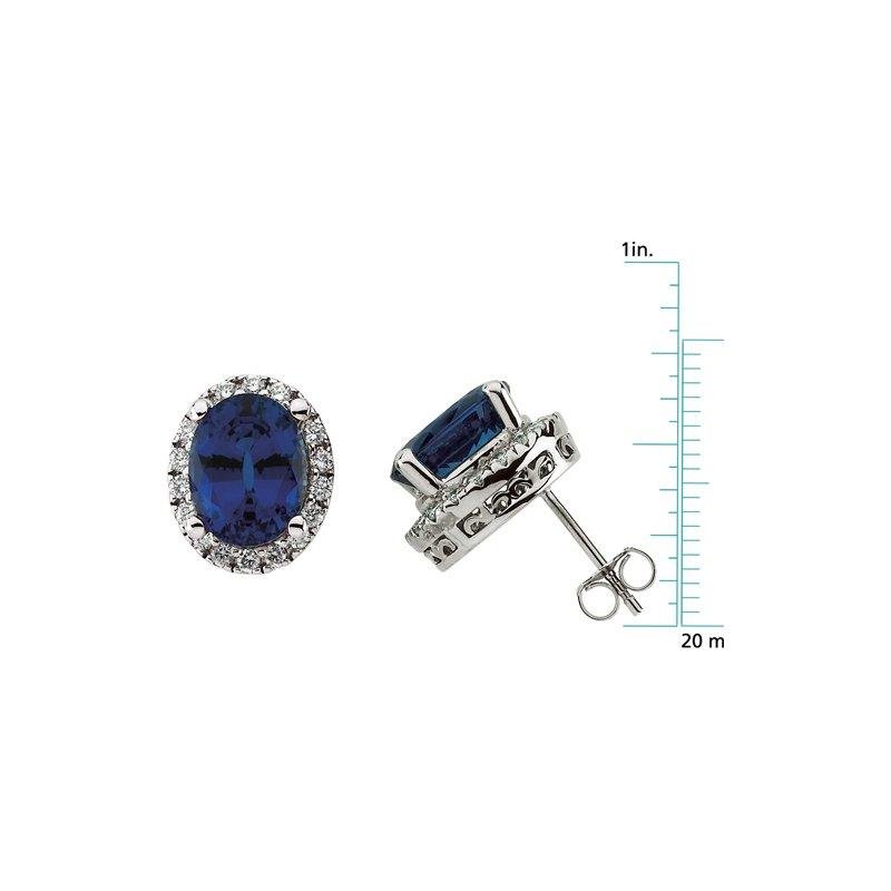 Ladies' Jewelry Chatham Created Sapphire & Diamond Earrings