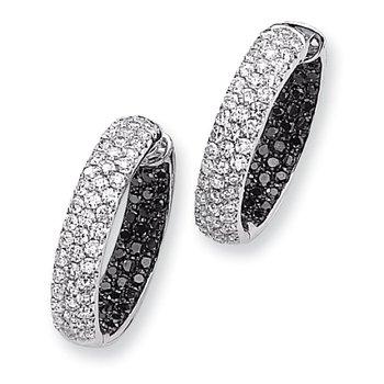 14k White Gold Black & White Diamond In-Out Hoop Earrings