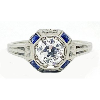 Diamond, Sapphire and White Gold Art Deco Style Ring