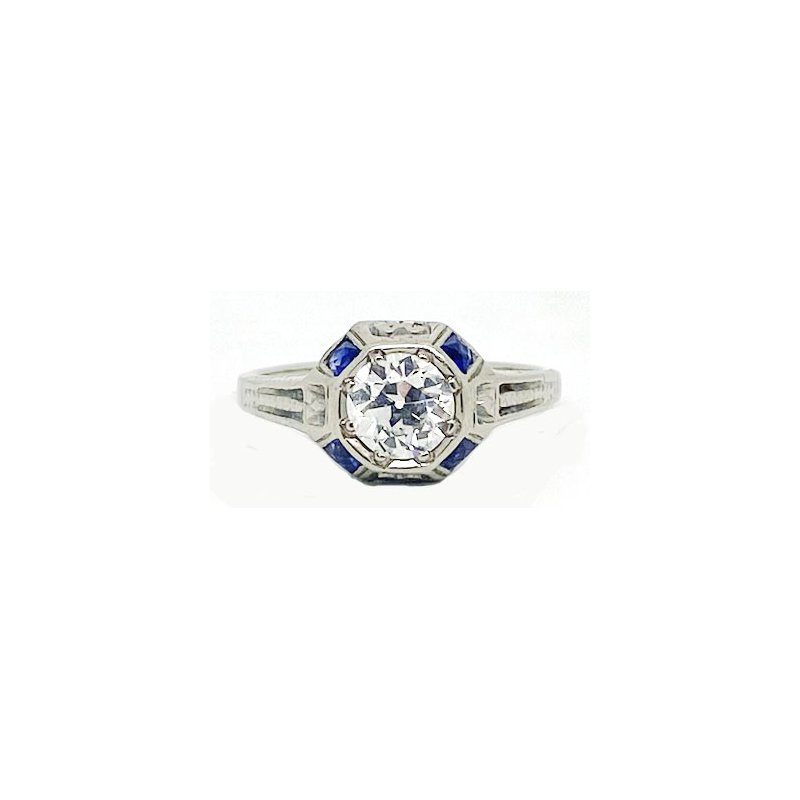 Vintage Bridal Diamond, Sapphire and White Gold Art Deco Style Ring