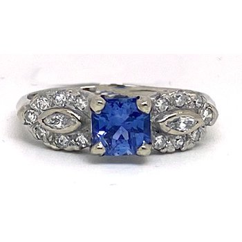 Lady's vintage sapphire, diamond and white gold ring