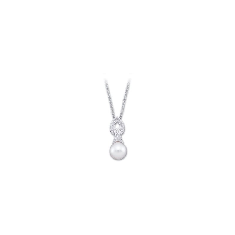 Ladies' Jewelry Freshwater Cultured Pearl & Diamond Necklace