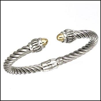 Hinged Two Tone Bangle Bracelet