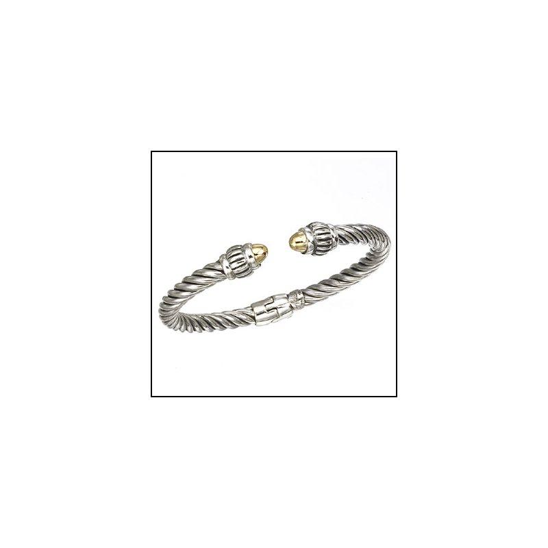 Designer Jewelry Hinged Two Tone Bangle Bracelet