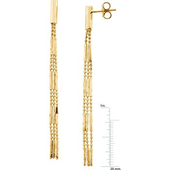 3-Strand Diamond-Cut Bead Tassel Earrings