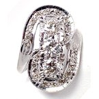 Estate & Vintage Lady's vintage Retro design elongated, white gold and diamond ring