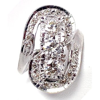 Lady's vintage Retro design elongated, white gold and diamond ring