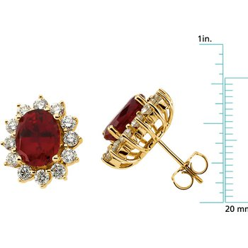 Chatham Created Ruby & Diamond Earrings
