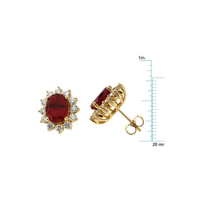 Ladies' Jewelry Chatham Created Ruby & Diamond Earrings