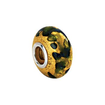 Kera Gold, Green & Blue Murano Glass Bead