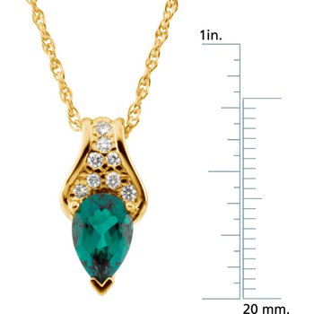 Chatham Created Emerald & Diamond Necklace