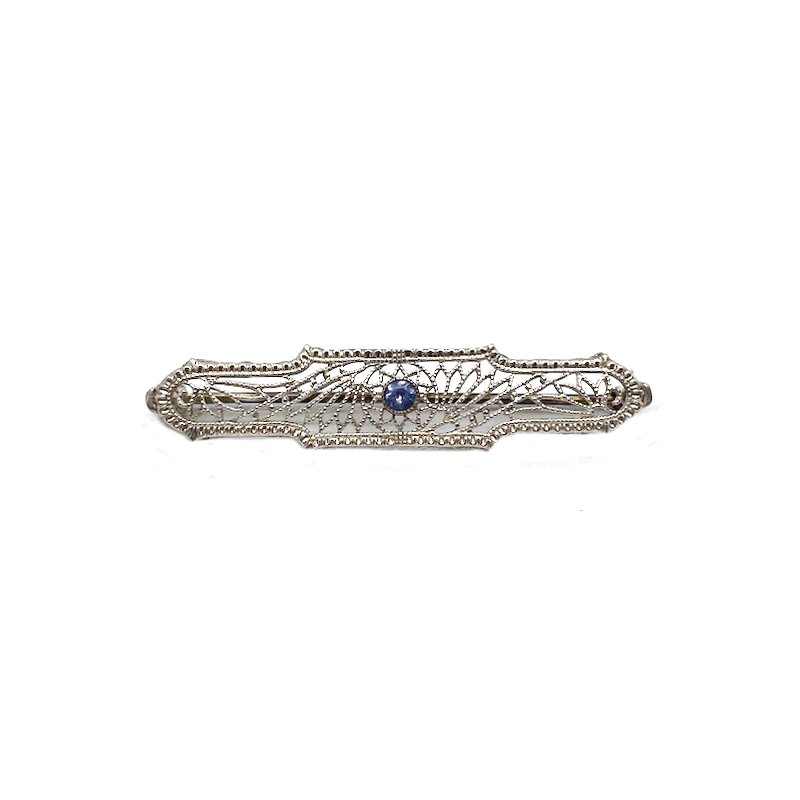 Estate & Vintage Lady's vintage sapphire and two-tone bar pin